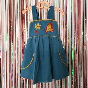 Vintage 1970s Girls Blue Denim Pinafore Dress - 4